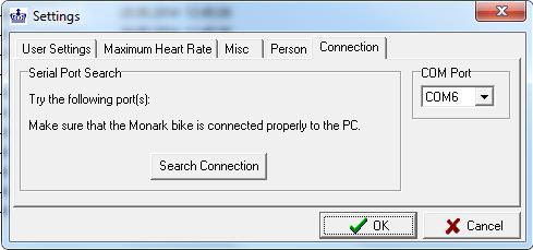"*Com-portin numero Monark 939E analysis-ohjelmistossa: valitse ""File->Settings->Connection"""